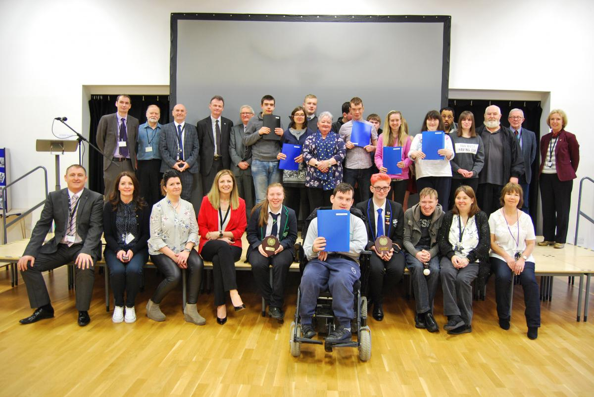 Young people receiving Positive Achievement award