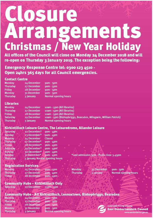 Festive opening times 2018-2019 | East Dunbartonshire Council