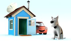 Cartoon image of  dog, house and car