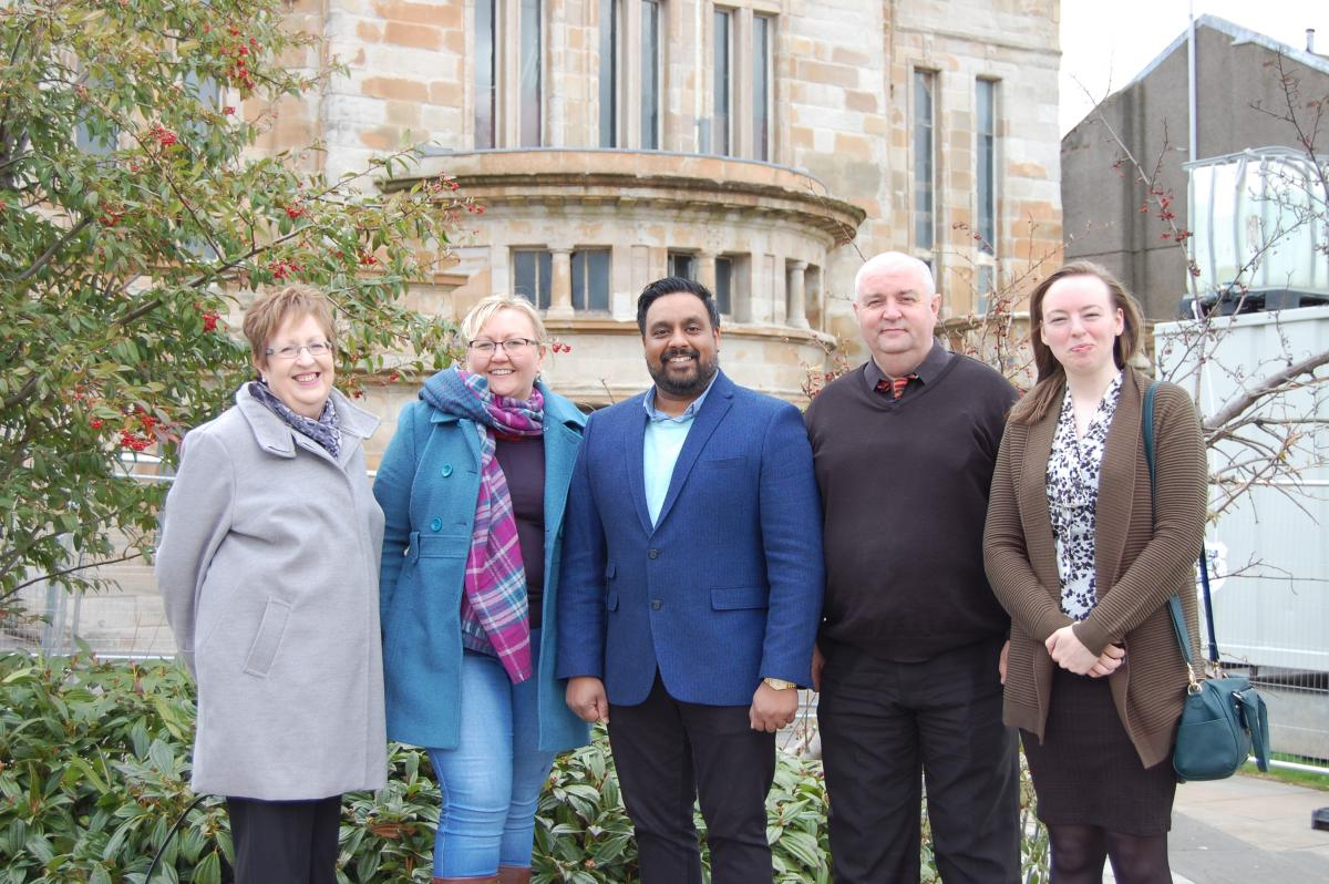 Pictured (from left): Cllr Rhondda Geekie, Leader of the Council, with Kirkintilloch Champions - Cllr Gillian Renwick, Meeki Singh, Gerry McGarry and Cllr Gemma Welsh.