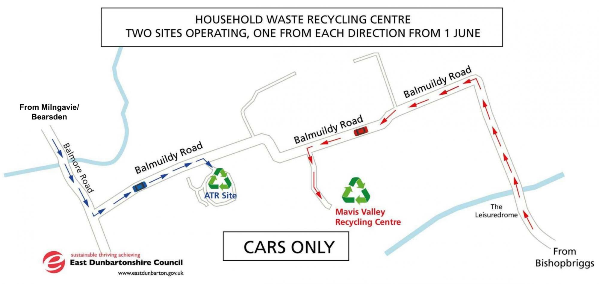 Map to recycling centre