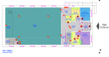 map of ground floor Lenzie public hall