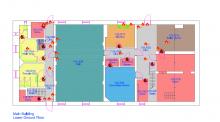 map of lower ground floor Lenzie public hall